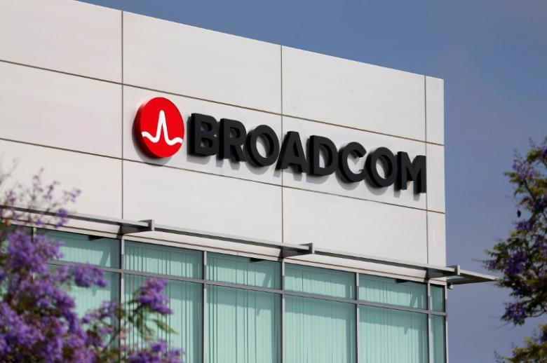 Broadcom Limited company logo is pictured on an office building in Rancho Bernardo, California May 12, 2016. REUTERS/Mike Blake