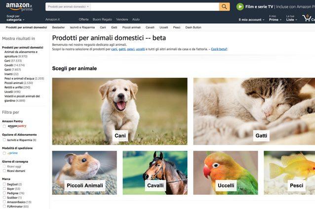 Amazon apre un negozio per animali: più di 180mila prodotti per cani e gatti