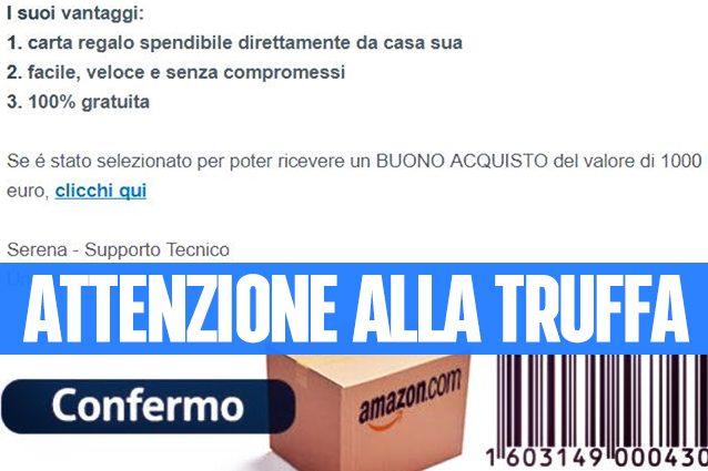 Amazon, attenzione alla truffa del finto buono sconto da 1000 euro